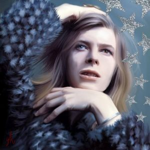 David Bowie - oils and glitter paint
